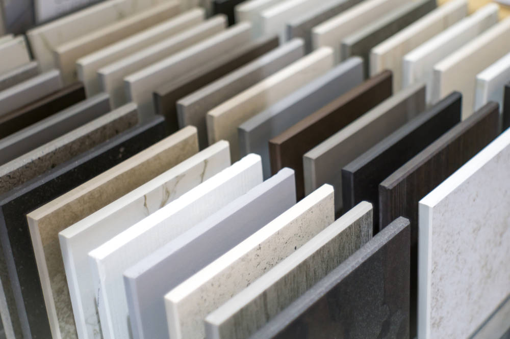 Samples of different kitchen countertop colors for Raleigh NC